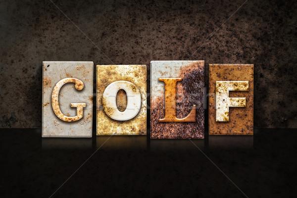 Golf Letterpress Concept on Dark Background Stock photo © enterlinedesign