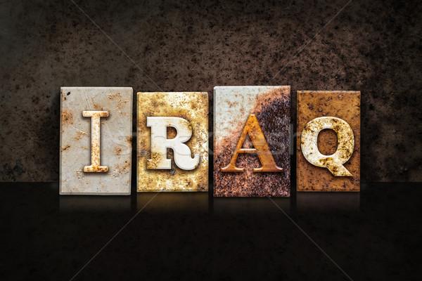 Iraque escuro palavra escrito enferrujado Foto stock © enterlinedesign