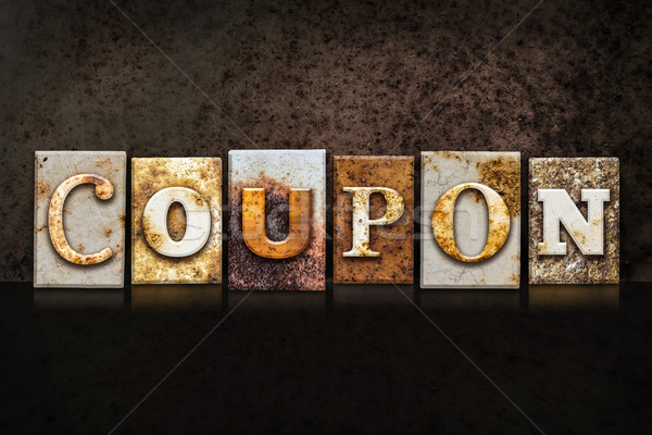 Coupon Letterpress Concept on Dark Background Stock photo © enterlinedesign