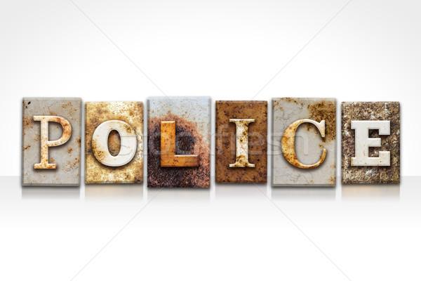 Polis yalıtılmış beyaz kelime yazılı Stok fotoğraf © enterlinedesign