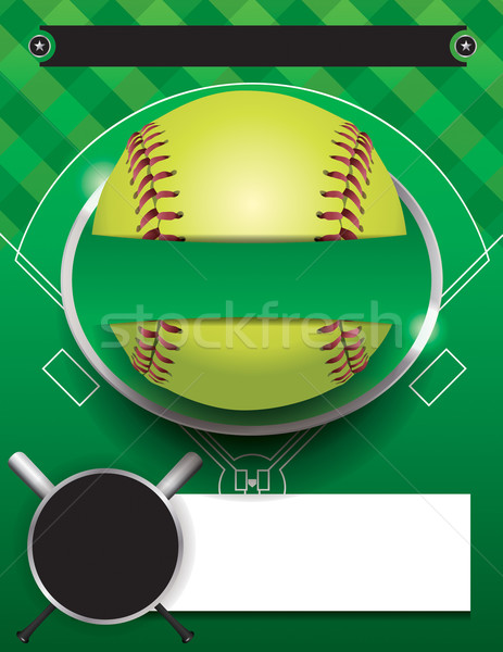 Vector Softball Tournament Template Illustration Stock photo © enterlinedesign