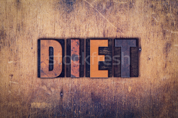 Diet Concept Wooden Letterpress Type Stock photo © enterlinedesign