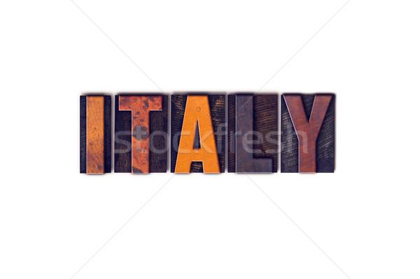 Italia aislado tipo palabra escrito Foto stock © enterlinedesign