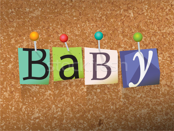 Baby Pinned Paper Concept Illustration Stock photo © enterlinedesign