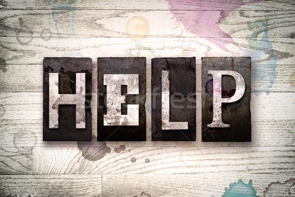 Help metal tipo parola scritto Foto d'archivio © enterlinedesign