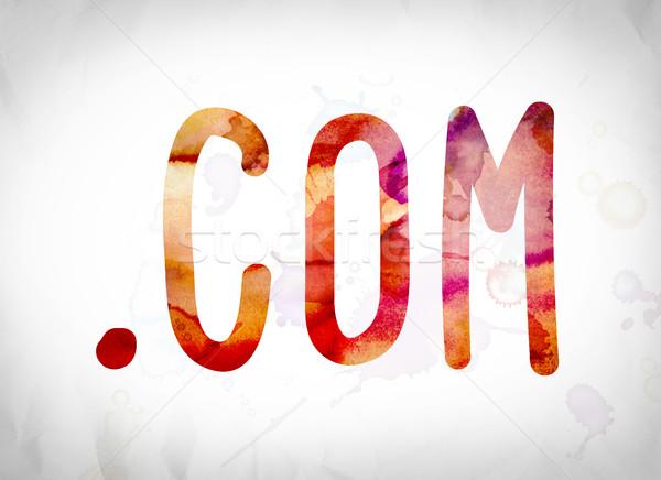.com Concept Watercolor Word Art Stock photo © enterlinedesign