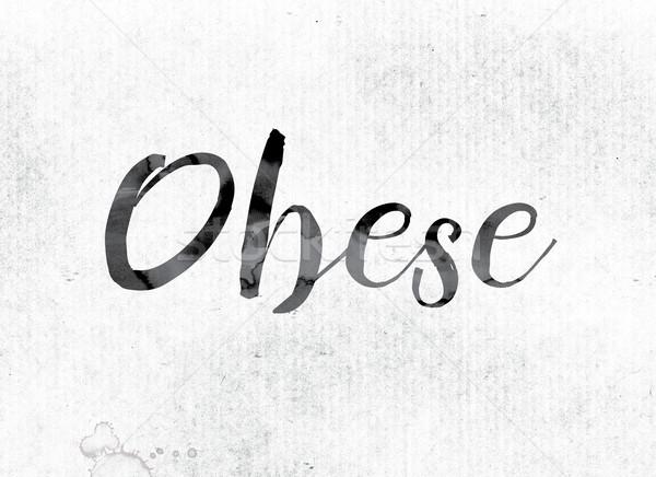 肥満した 描いた インク 言葉 水彩画 白 ストックフォト © enterlinedesign