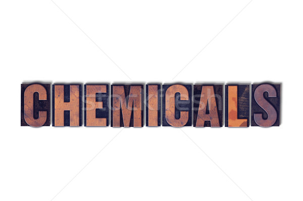 Kimyasallar yalıtılmış kelime yazılı bağbozumu Stok fotoğraf © enterlinedesign