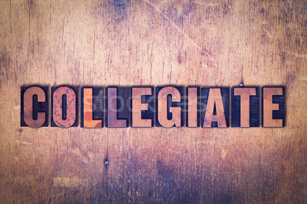 Collegiate Theme Letterpress Word on Wood Background Stock photo © enterlinedesign
