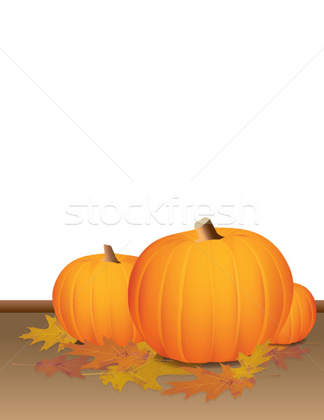 Autumn Pumpkins and Colorful Leaves Stock photo © enterlinedesign