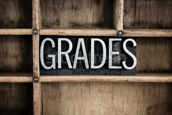 Grades Concept Metal Letterpress Word in Drawer Stock photo © enterlinedesign