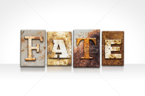 Fate Letterpress Concept Isolated on White Stock photo © enterlinedesign
