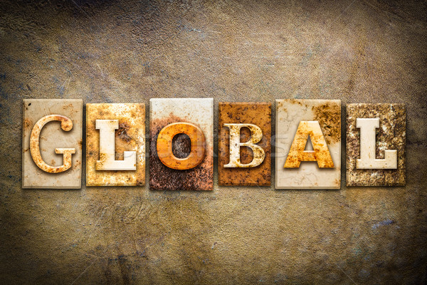 Stockfoto: Globale · leder · woord · geschreven · roestige