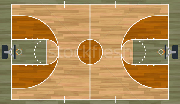 Realista cancha de baloncesto ilustración madera dura eps Foto stock © enterlinedesign