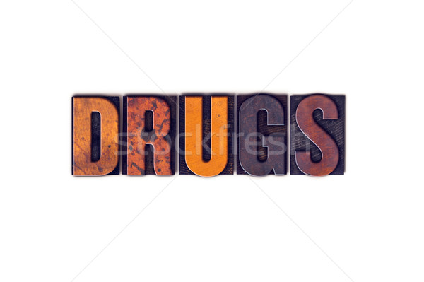 Drugs geïsoleerd type woord geschreven Stockfoto © enterlinedesign