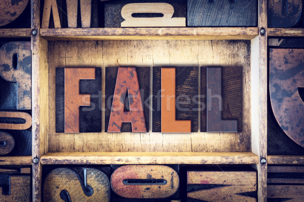 Fall Concept Letterpress Type Stock photo © enterlinedesign