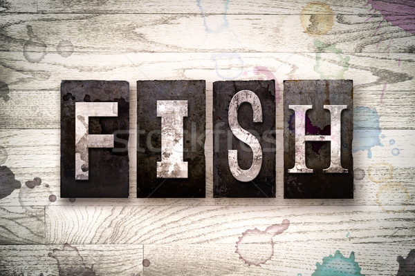 Fish Concept Metal Letterpress Type Stock photo © enterlinedesign