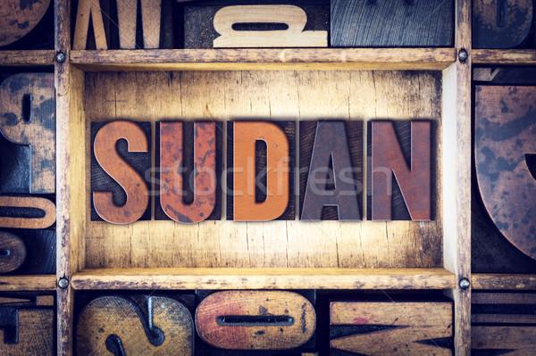 Szudán magasnyomás szó írott klasszikus Stock fotó © enterlinedesign