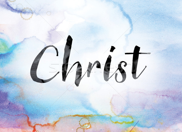 Christ Colorful Watercolor and Ink Word Art Stock photo © enterlinedesign