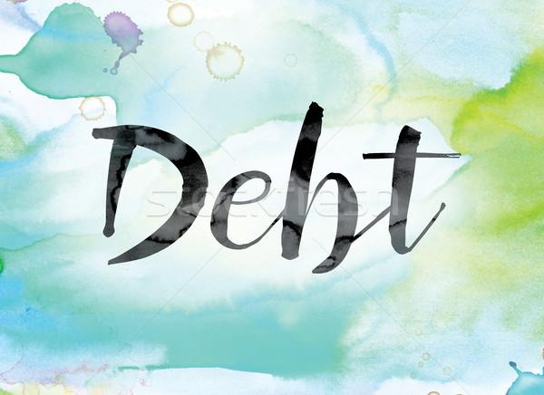 Dívida colorido aquarela nosso palavra arte Foto stock © enterlinedesign