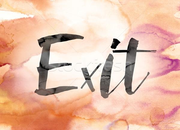 終了する カラフル 水彩画 インク 言葉 芸術 ストックフォト © enterlinedesign