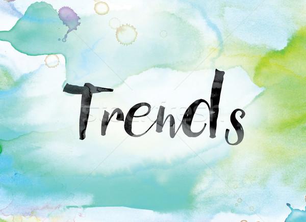 Trendek színes vízfesték tinta szó művészet Stock fotó © enterlinedesign