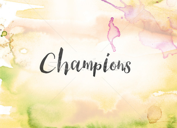 Champions Concept Watercolor and Ink Painting Stock photo © enterlinedesign