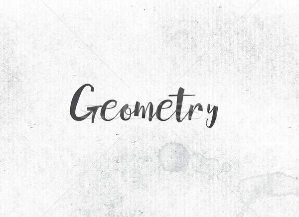 Geometrie geschilderd inkt woord zwarte aquarel Stockfoto © enterlinedesign