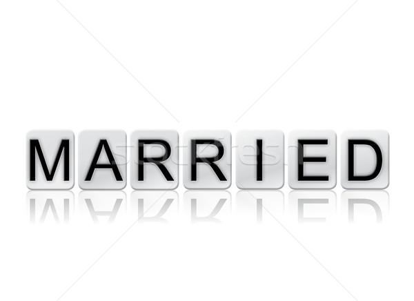結婚 タイル張りの 言葉 孤立した 白 書かれた ストックフォト © enterlinedesign
