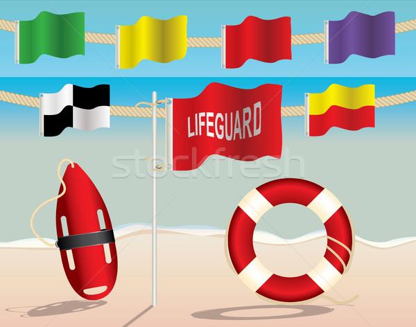 Ratownik wyposażenie ostrzeżenie flagi plaży bezpieczeństwa Zdjęcia stock © enterlinedesign