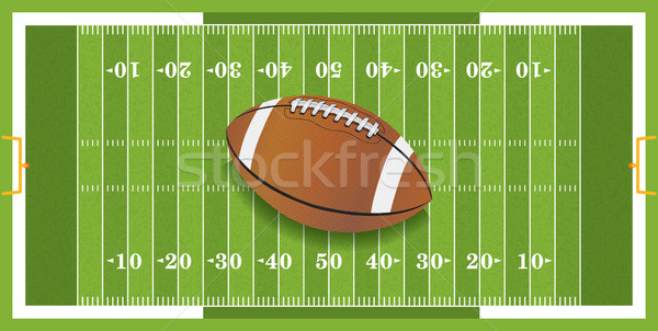 Stock photo: Realistic Football on Textured Football Field