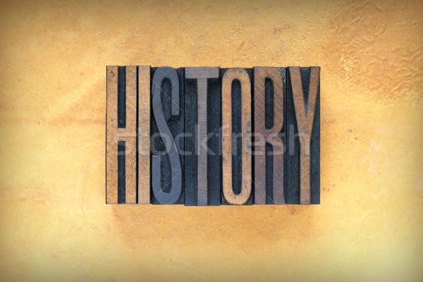 Geschiedenis woord geschreven vintage type Stockfoto © enterlinedesign