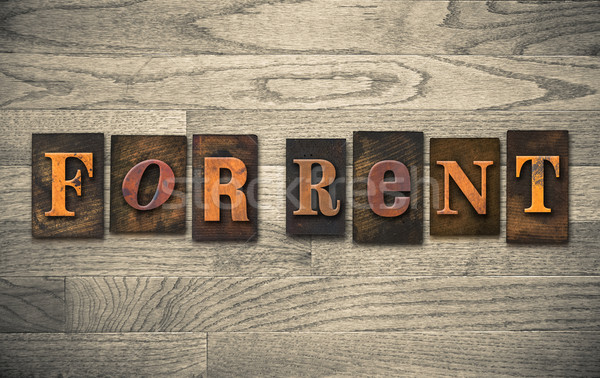 For Rent Wooden Letterpress Concept Stock photo © enterlinedesign