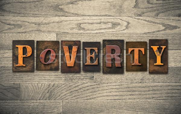 Armoede houten woord geschreven vintage Stockfoto © enterlinedesign