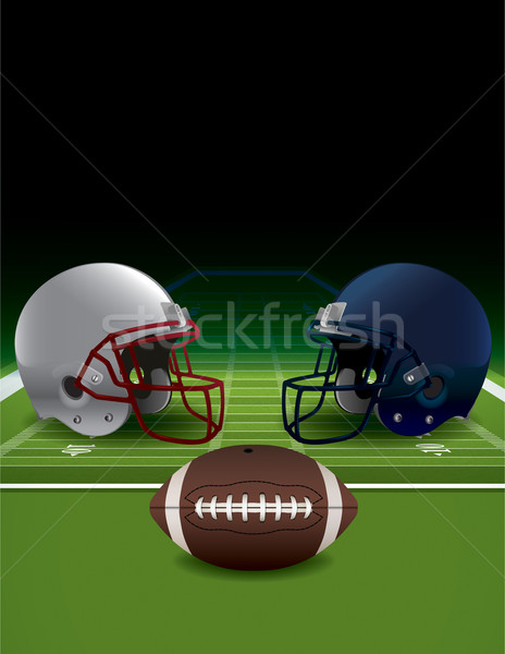 Football casques balle gazon domaine Photo stock © enterlinedesign