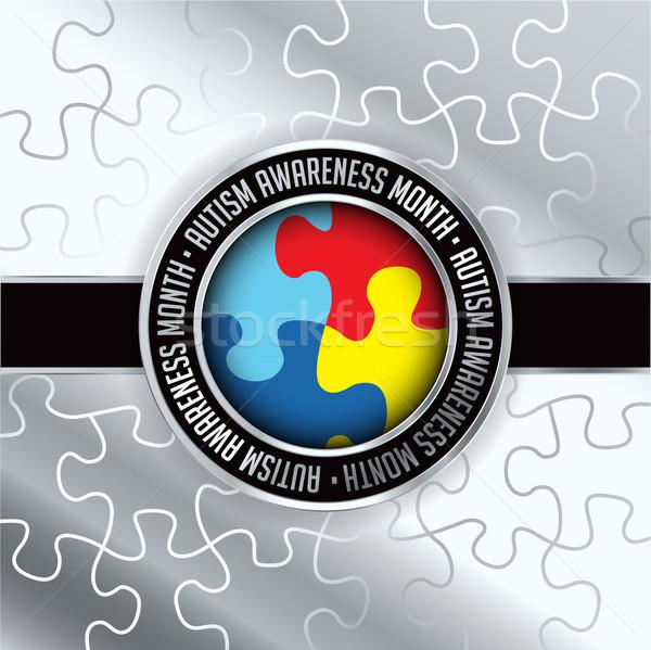 Autisme bewustzijn maand embleem illustratie Stockfoto © enterlinedesign