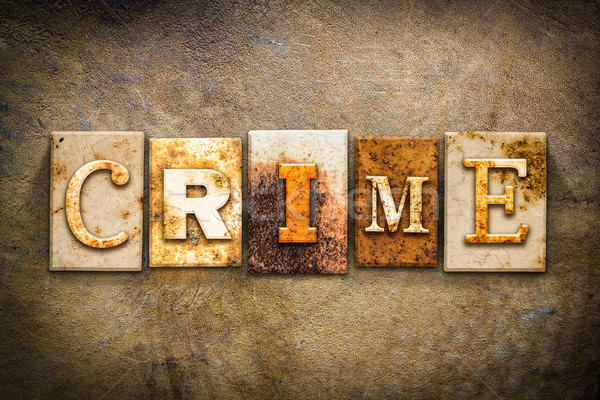 Crime Concept Letterpress Leather Theme Stock photo © enterlinedesign