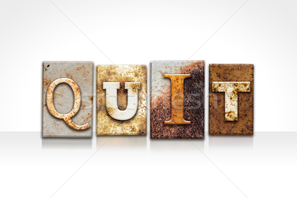 Quit Letterpress Concept Isolated on White Stock photo © enterlinedesign