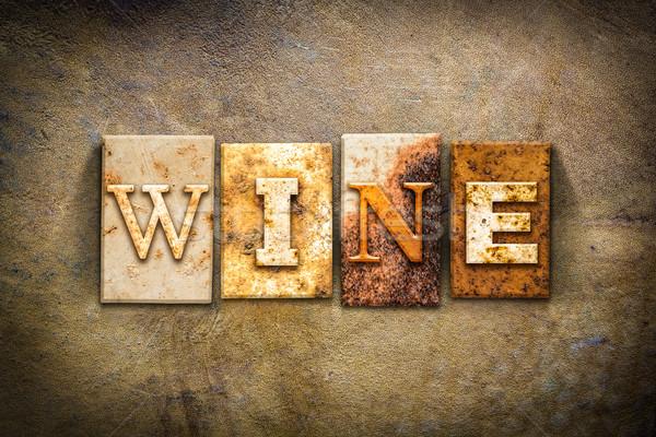 Wine Concept Letterpress Leather Theme Stock photo © enterlinedesign