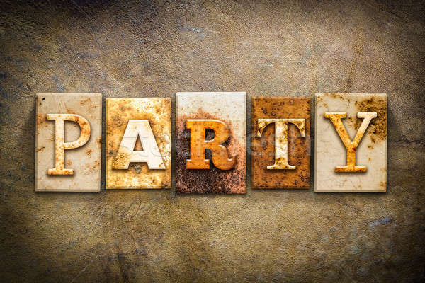 Party Concept Letterpress Leather Theme Stock photo © enterlinedesign