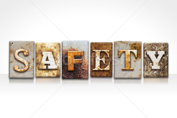 Safety Letterpress Concept Isolated on White Stock photo © enterlinedesign