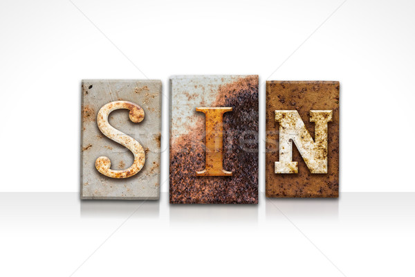 Sin Letterpress Concept Isolated on White Stock photo © enterlinedesign