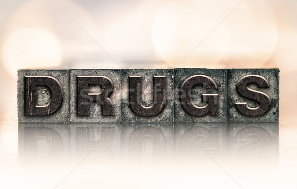 Drugs vintage type woord geschreven Stockfoto © enterlinedesign