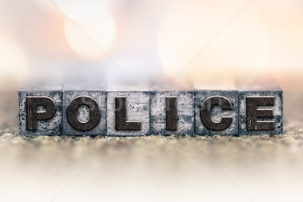 Politie vintage type woord geschreven Stockfoto © enterlinedesign