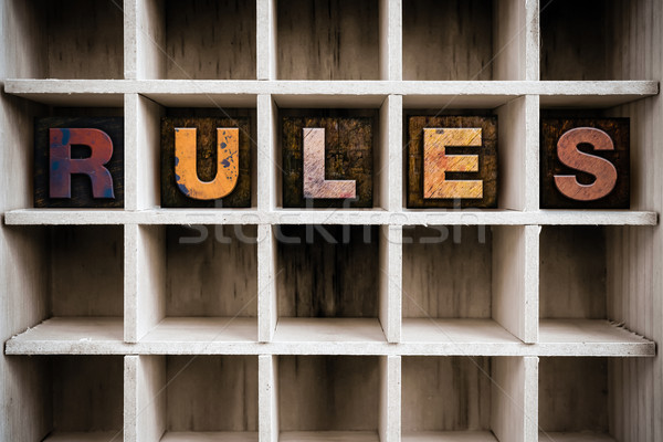Rules Concept Wooden Letterpress Type in Drawer Stock photo © enterlinedesign