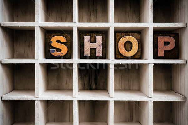 Shop Concept Wooden Letterpress Type in Drawer Stock photo © enterlinedesign