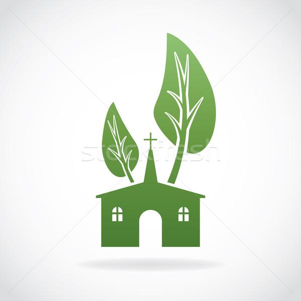 растущий христианской Церкви иллюстрация икона вектора Сток-фото © enterlinedesign
