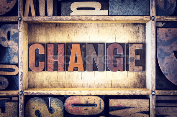 Change Concept Letterpress Type Stock photo © enterlinedesign