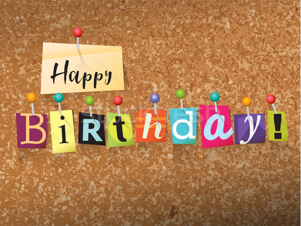 Happy Birthday Pinned Paper Concept Illustration Stock photo © enterlinedesign
