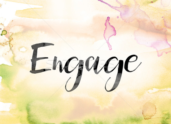 Engage Colorful Watercolor and Ink Word Art Stock photo © enterlinedesign